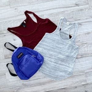 Bundle of 2 Tank Tops Burgundy Grey Medium